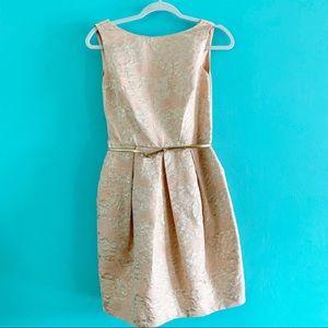 Eliza J jacquard peach rose gold dress 4